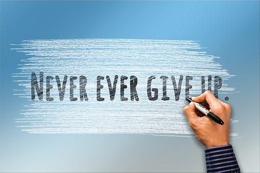 never ever give up text written